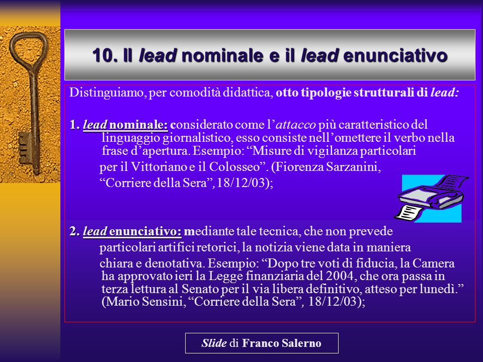 10. Il lead nominale e il lead enunciativo