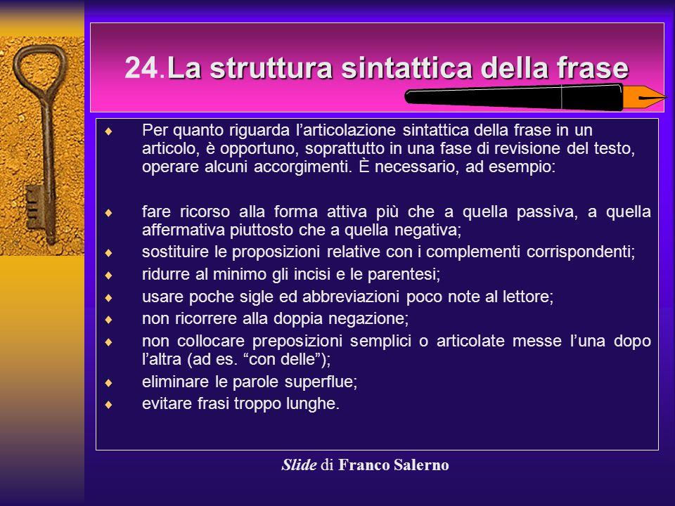 24.La struttura sintattica della frase