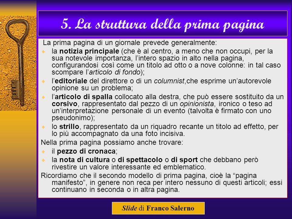 5. La struttura della prima pagina