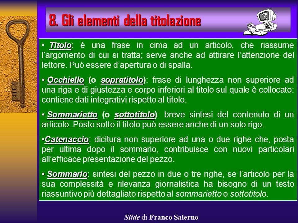 8. Gli elementi della titolazione