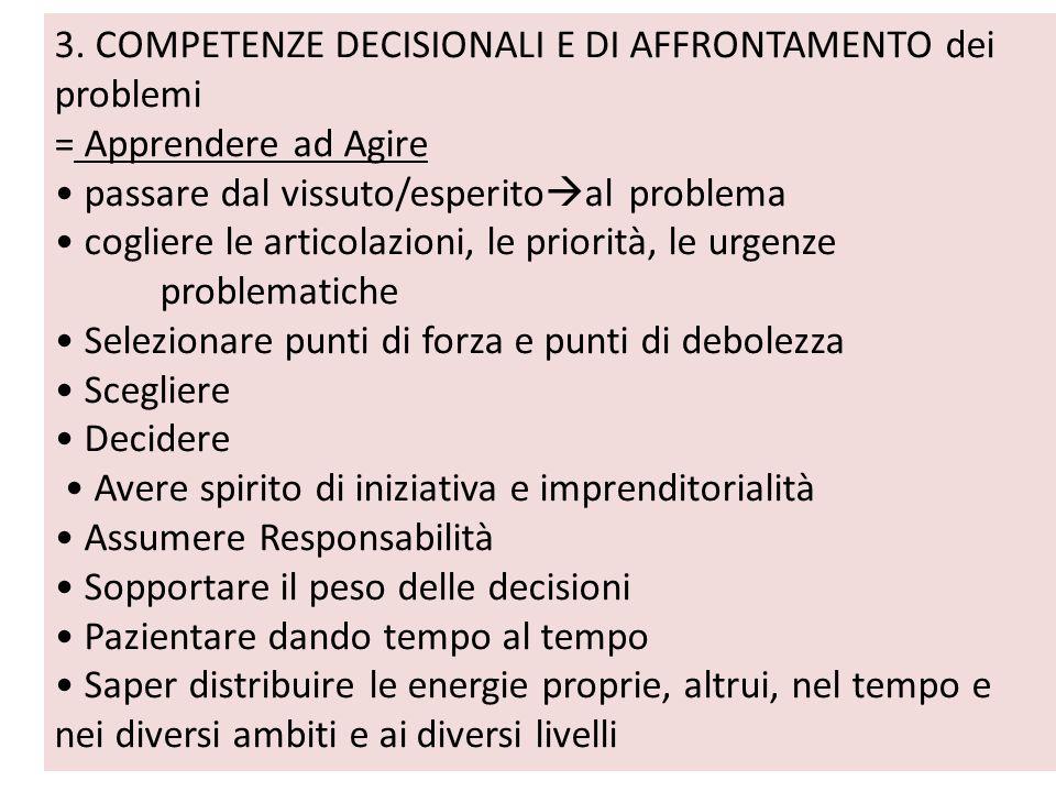 3. COMPETENZE DECISIONALI E DI AFFRONTAMENTO dei problemi