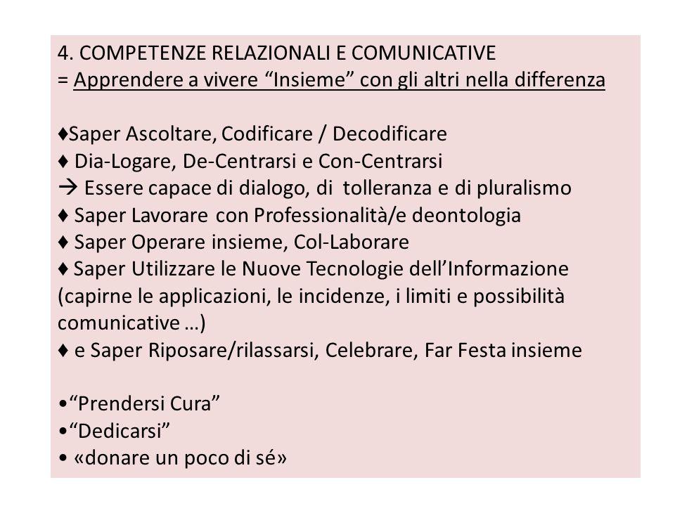 4. COMPETENZE RELAZIONALI E COMUNICATIVE