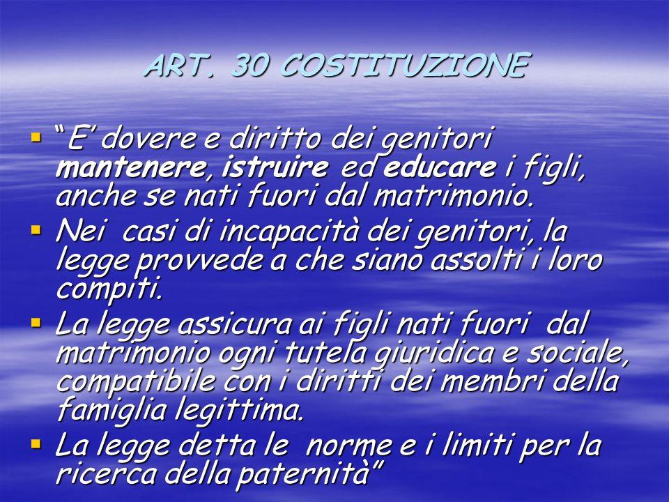 ART. 30 COSTITUZIONE E' dovere e diritto dei genitori mantenere, istruire ed educare i figli, anche se nati fuori dal matrimonio.
