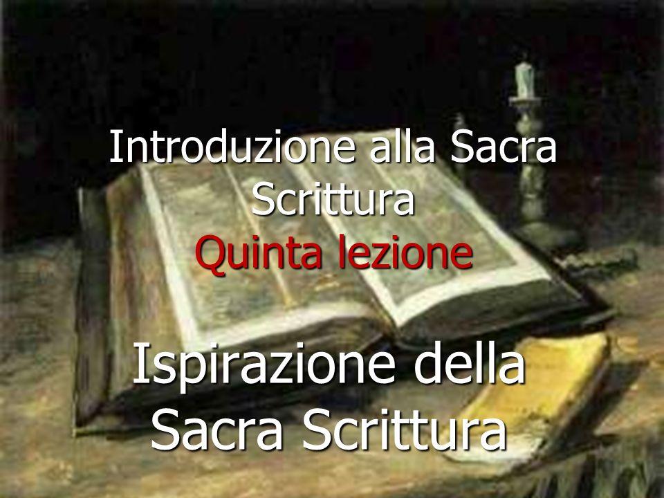 Introduzione alla Sacra Scrittura Quinta lezione