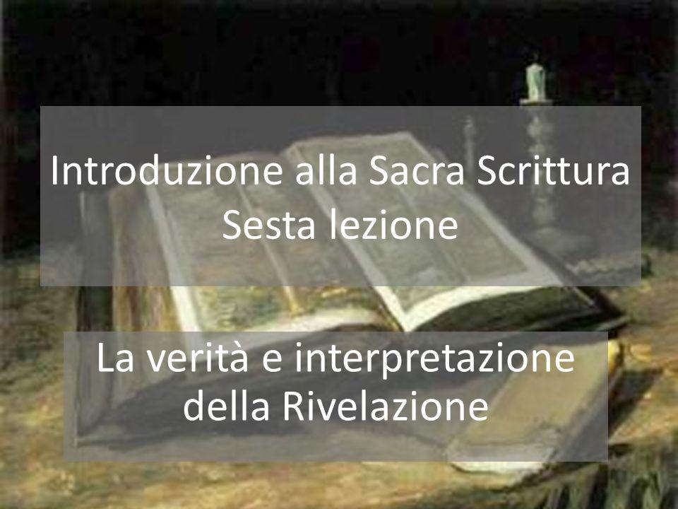 Introduzione alla Sacra Scrittura Sesta lezione