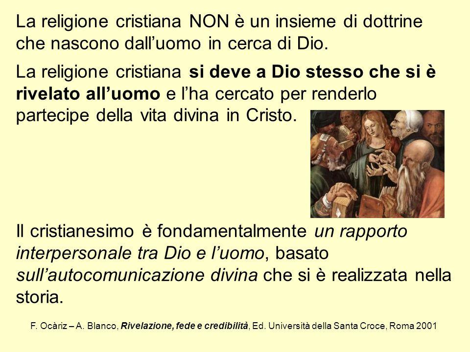 La religione cristiana NON è un insieme di dottrine che nascono dall'uomo in cerca di Dio.