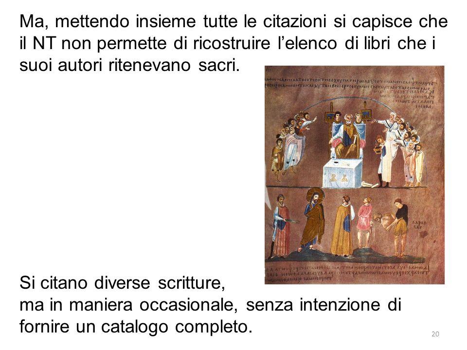 Ma, mettendo insieme tutte le citazioni si capisce che il NT non permette di ricostruire l'elenco di libri che i suoi autori ritenevano sacri.