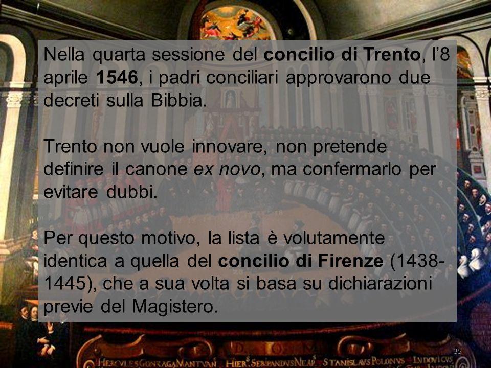 Nella quarta sessione del concilio di Trento, l'8 aprile 1546, i padri conciliari approvarono due decreti sulla Bibbia.