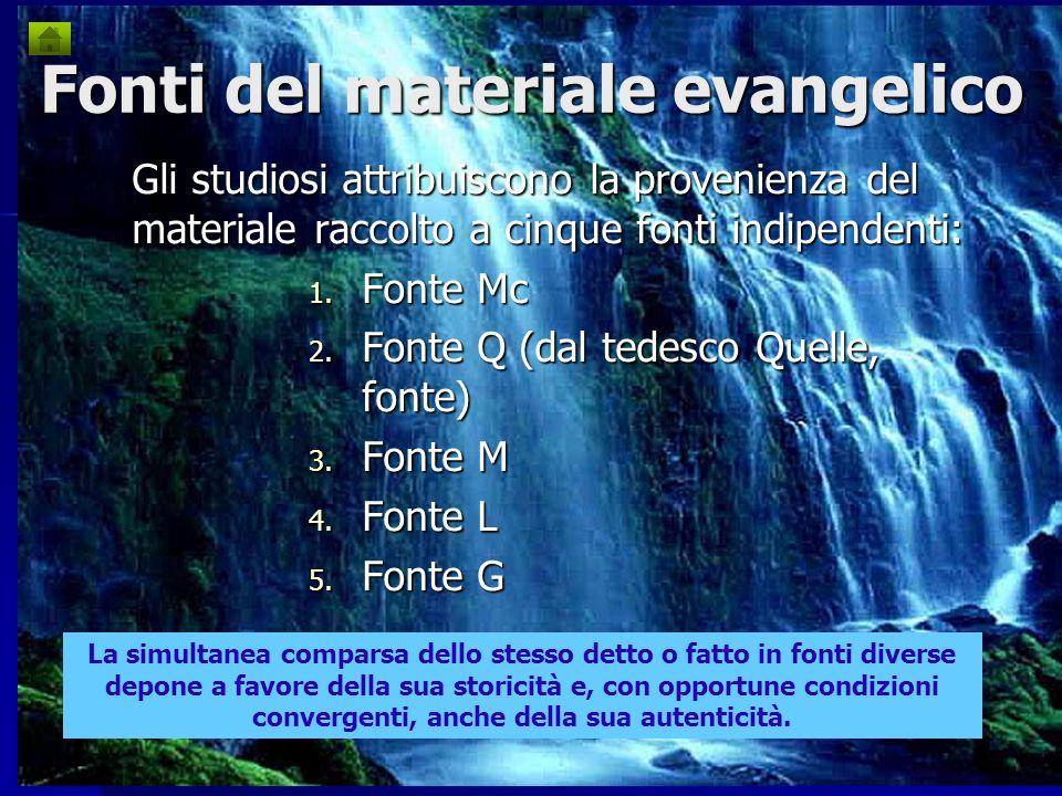 Fonti del materiale evangelico