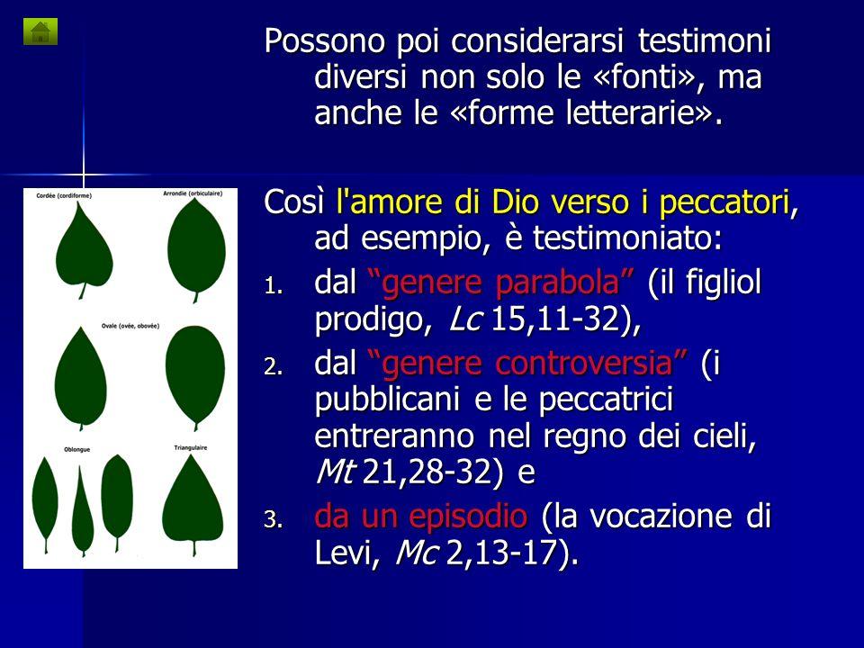 Possono poi considerarsi testimoni diversi non solo le «fonti», ma anche le «forme letterarie».
