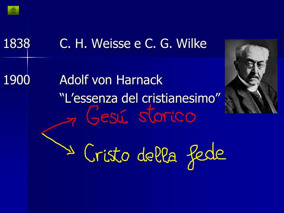 1838 C. H. Weisse e C. G. Wilke 1900 Adolf von Harnack L'essenza del cristianesimo