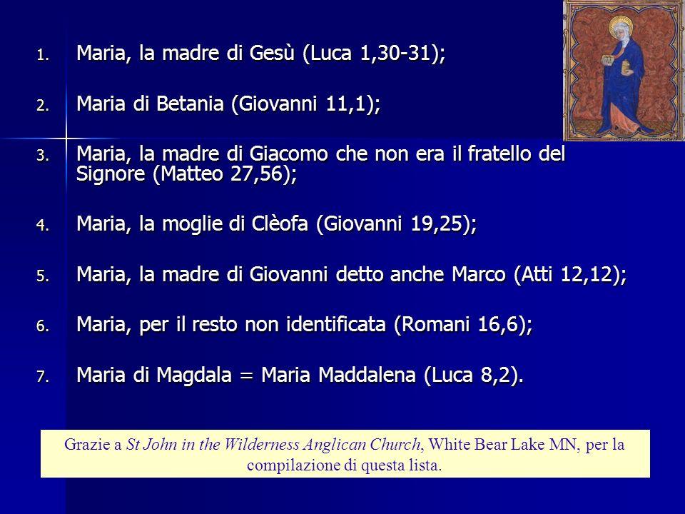 Maria, la madre di Gesù (Luca 1,30-31);