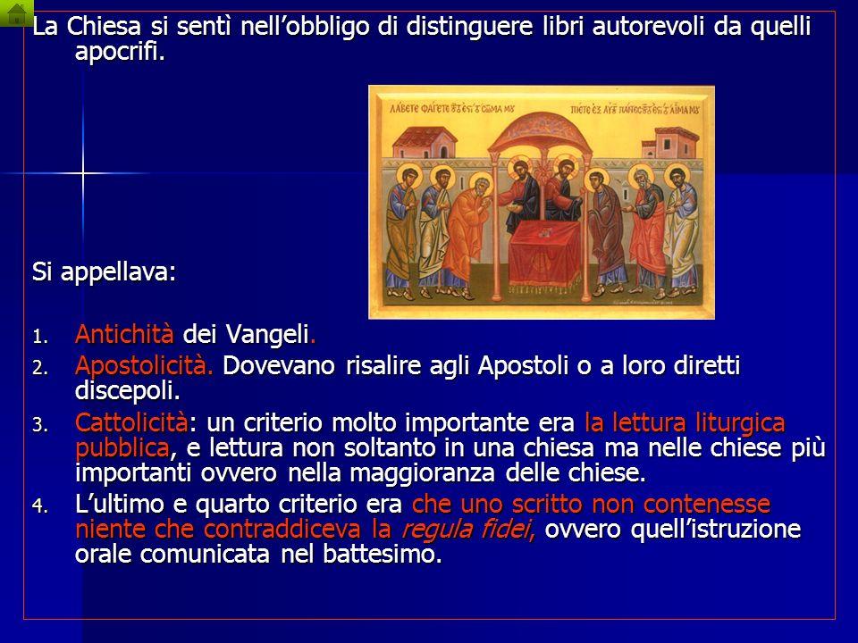 La Chiesa si sentì nell'obbligo di distinguere libri autorevoli da quelli apocrifi.