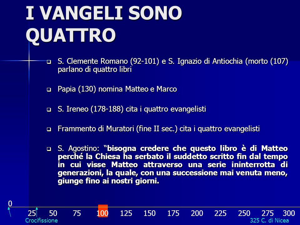 I VANGELI SONO QUATTRO S. Clemente Romano (92-101) e S. Ignazio di Antiochia (morto (107) parlano di quattro libri.