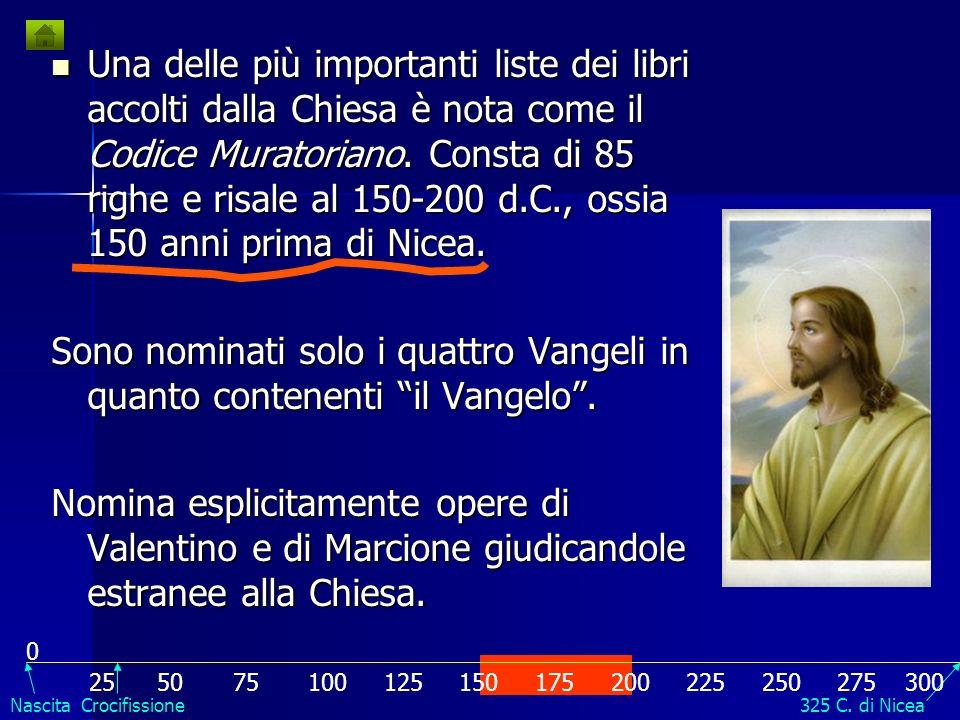 Una delle più importanti liste dei libri accolti dalla Chiesa è nota come il Codice Muratoriano. Consta di 85 righe e risale al 150-200 d.C., ossia 150 anni prima di Nicea.