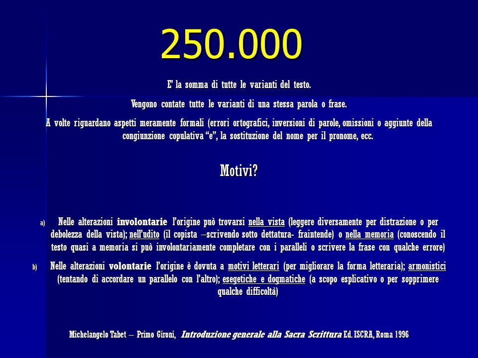 250.000 Motivi E' la somma di tutte le varianti del testo.