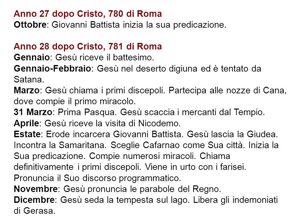 Anno 27 dopo Cristo, 780 di Roma Ottobre: Giovanni Battista inizia la sua predicazione.