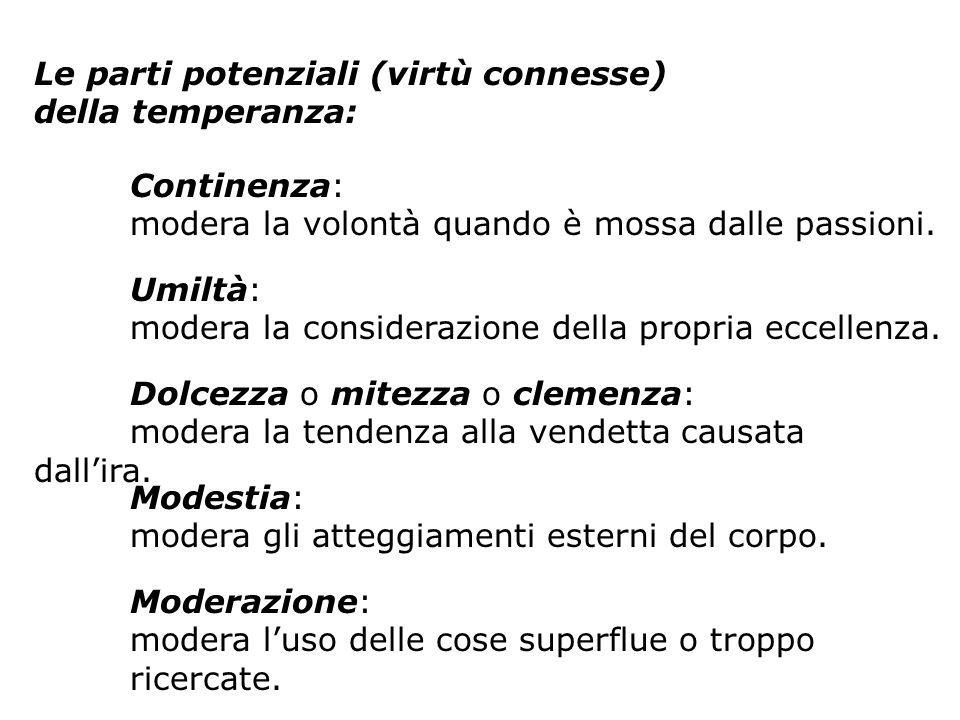 Le parti potenziali (virtù connesse) della temperanza: