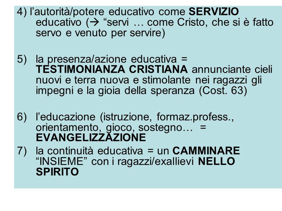 4) l'autorità/potere educativo come SERVIZIO educativo ( servi … come Cristo, che si è fatto servo e venuto per servire)