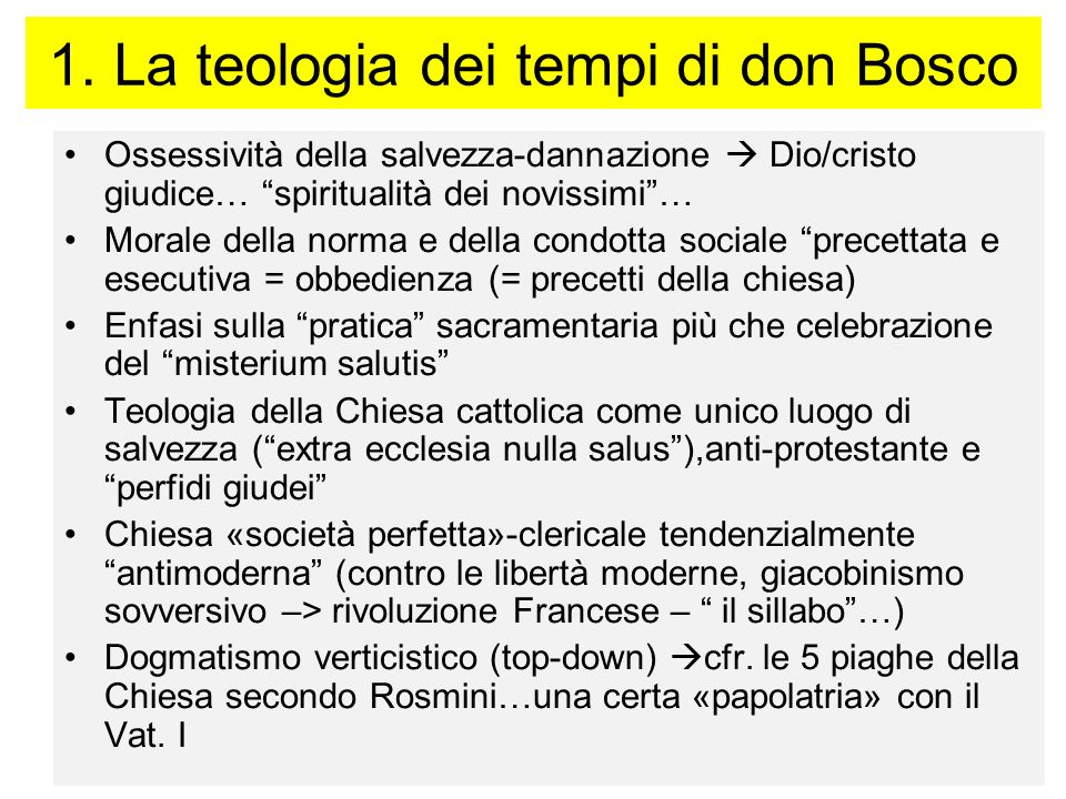 1. La teologia dei tempi di don Bosco