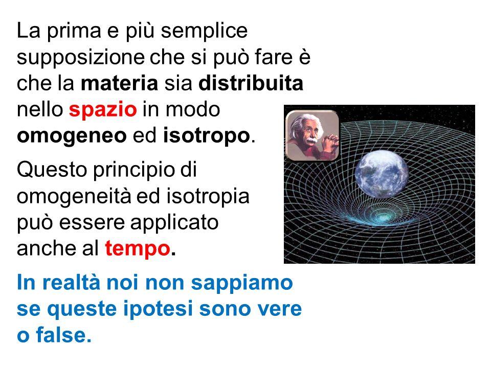 La prima e più semplice supposizione che si può fare è che la materia sia distribuita nello spazio in modo omogeneo ed isotropo.