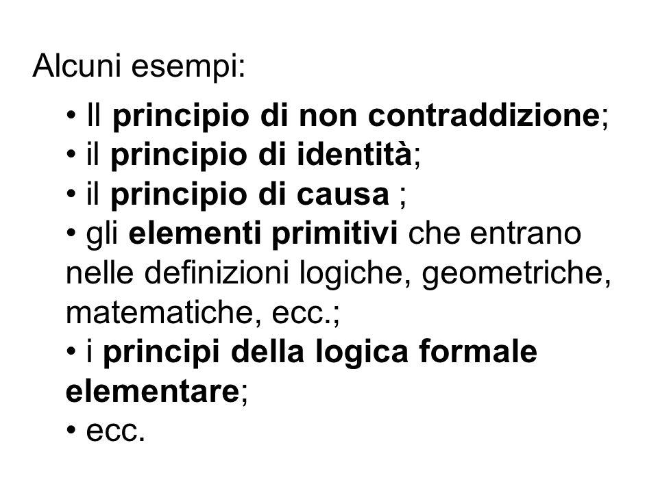 Alcuni esempi: Il principio di non contraddizione; il principio di identità; il principio di causa ;