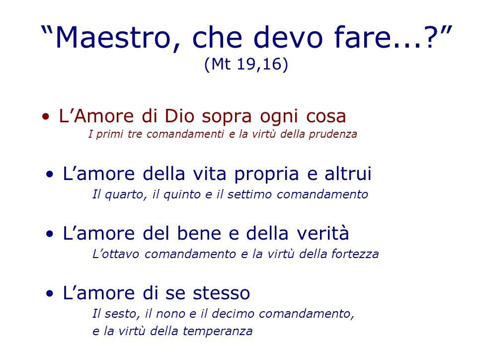 Maestro, che devo fare... (Mt 19,16)