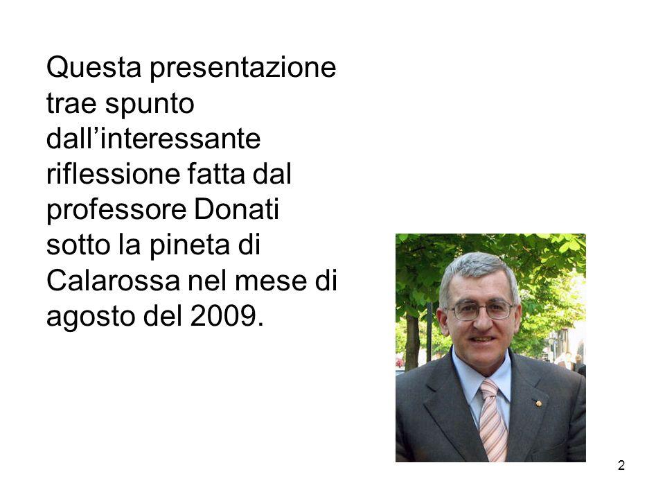 Questa presentazione trae spunto dall'interessante riflessione fatta dal professore Donati sotto la pineta di Calarossa nel mese di agosto del 2009.