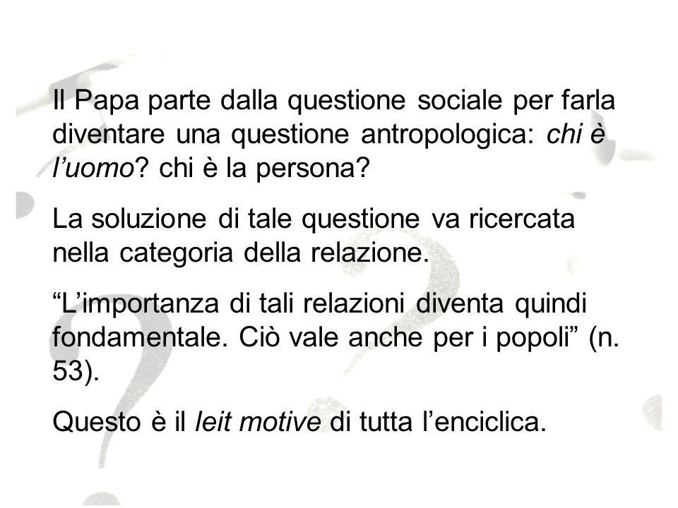 Il Papa parte dalla questione sociale per farla diventare una questione antropologica: chi è l'uomo chi è la persona