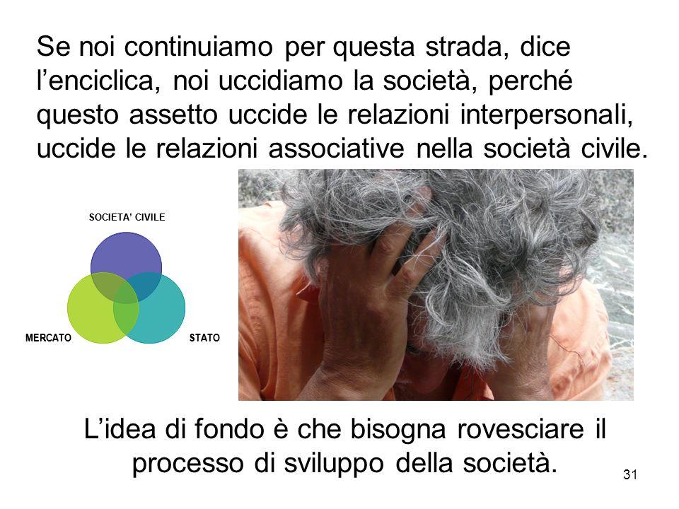 Se noi continuiamo per questa strada, dice l'enciclica, noi uccidiamo la società, perché questo assetto uccide le relazioni interpersonali, uccide le relazioni associative nella società civile.