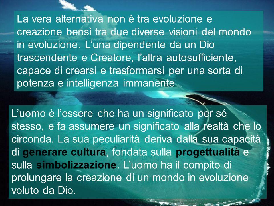 La vera alternativa non è tra evoluzione e creazione bensì tra due diverse visioni del mondo in evoluzione. L'una dipendente da un Dio trascendente e Creatore, l'altra autosufficiente, capace di crearsi e trasformarsi per una sorta di potenza e intelligenza immanente