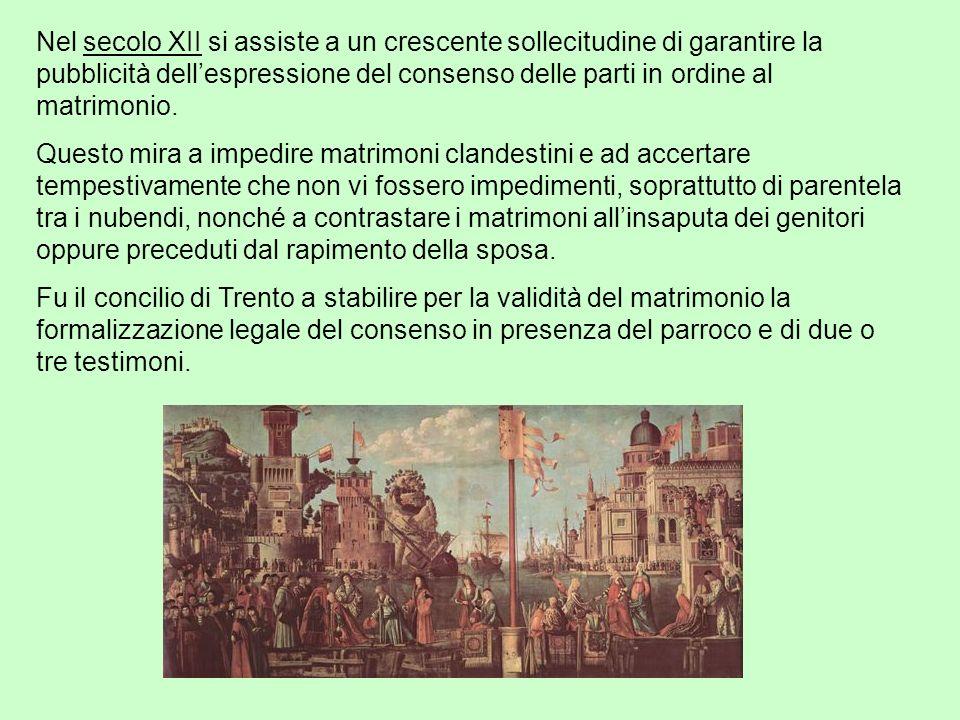 Nel secolo XII si assiste a un crescente sollecitudine di garantire la pubblicità dell'espressione del consenso delle parti in ordine al matrimonio.