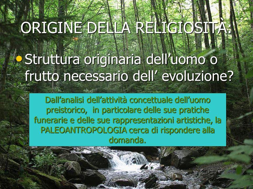 ORIGINE DELLA RELIGIOSITÀ:
