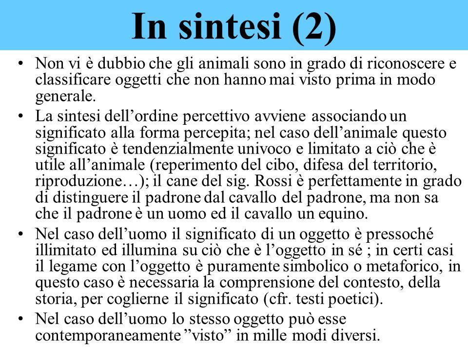 In sintesi (2) Non vi è dubbio che gli animali sono in grado di riconoscere e classificare oggetti che non hanno mai visto prima in modo generale.