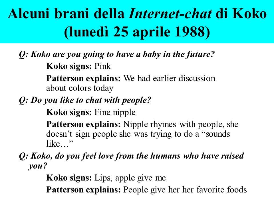 Alcuni brani della Internet-chat di Koko (lunedì 25 aprile 1988)