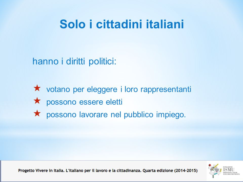 Solo i cittadini italiani
