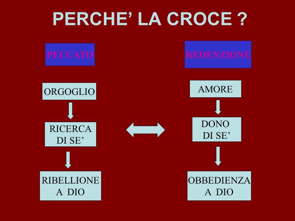 PERCHE' LA CROCE REDENZIONE PECCATO AMORE ORGOGLIO DONO DI SE'