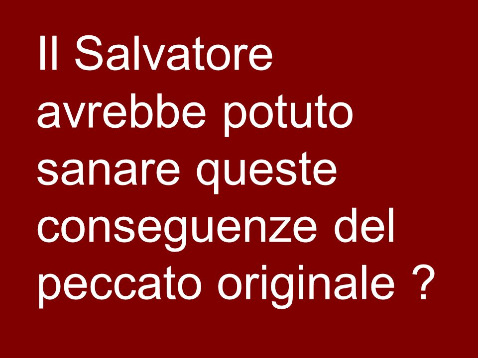 Il Salvatore avrebbe potuto sanare queste conseguenze del peccato originale