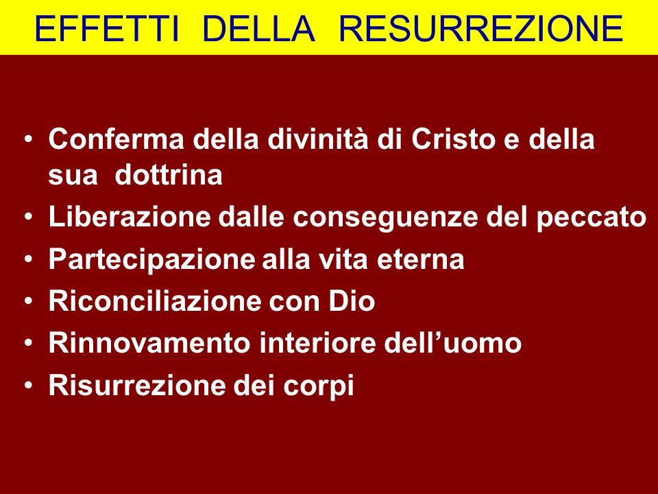 EFFETTI DELLA RESURREZIONE