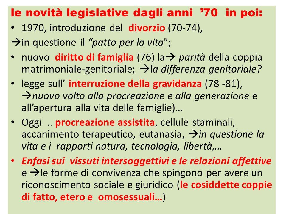 le novità legislative dagli anni '70 in poi:
