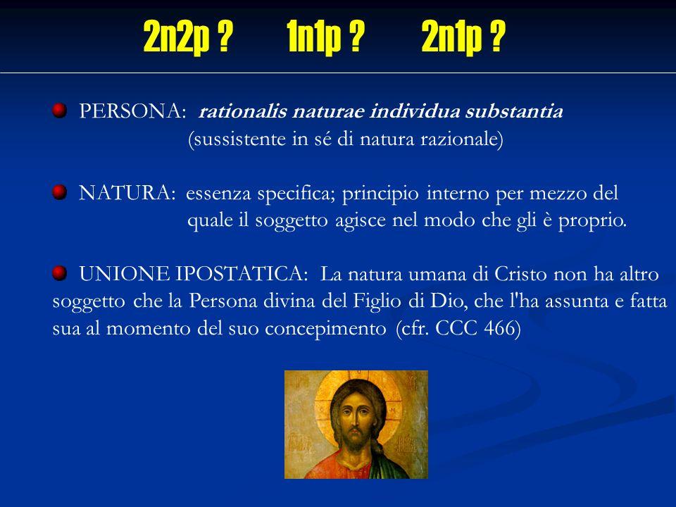 2n2p 1n1p 2n1p PERSONA: rationalis naturae individua substantia (sussistente in sé di natura razionale)