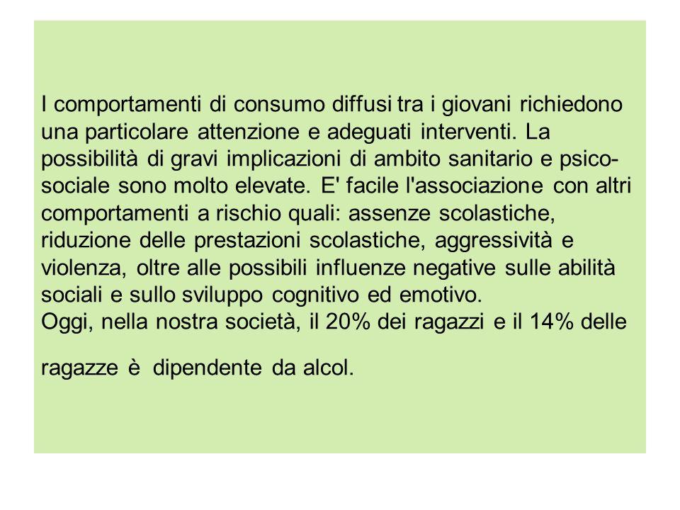 I comportamenti di consumo diffusi tra i giovani richiedono una particolare attenzione e adeguati interventi.