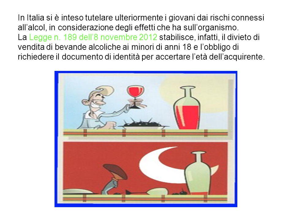 In Italia si è inteso tutelare ulteriormente i giovani dai rischi connessi all'alcol, in considerazione degli effetti che ha sull'organismo.