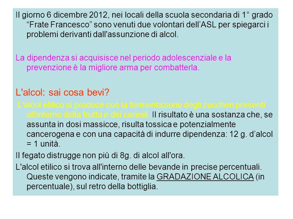 Il giorno 6 dicembre 2012, nei locali della scuola secondaria di 1° grado Frate Francesco sono venuti due volontari dell'ASL per spiegarci i problemi derivanti dall assunzione di alcol.