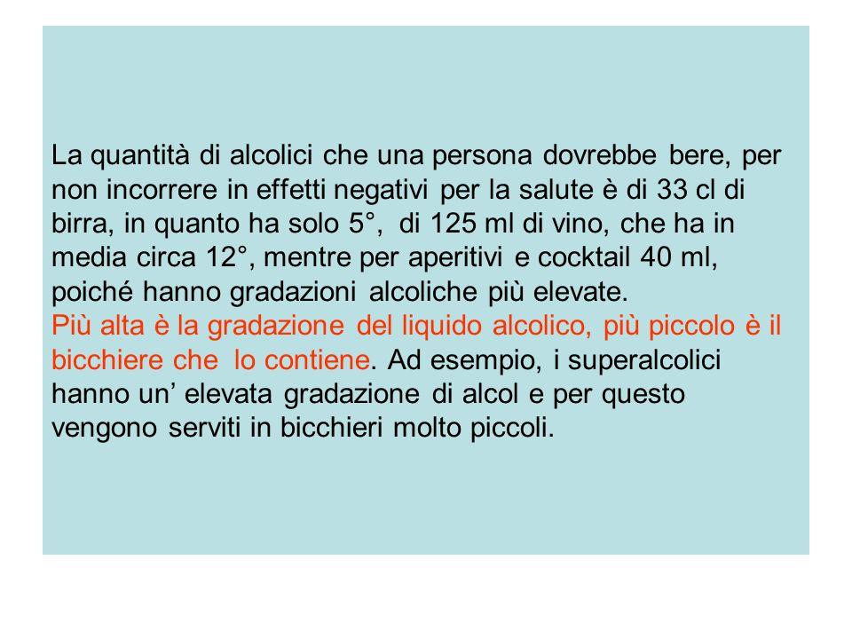 La quantità di alcolici che una persona dovrebbe bere, per non incorrere in effetti negativi per la salute è di 33 cl di birra, in quanto ha solo 5°, di 125 ml di vino, che ha in media circa 12°, mentre per aperitivi e cocktail 40 ml, poiché hanno gradazioni alcoliche più elevate.