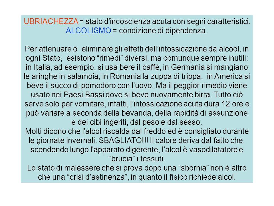 UBRIACHEZZA = stato d incoscienza acuta con segni caratteristici.
