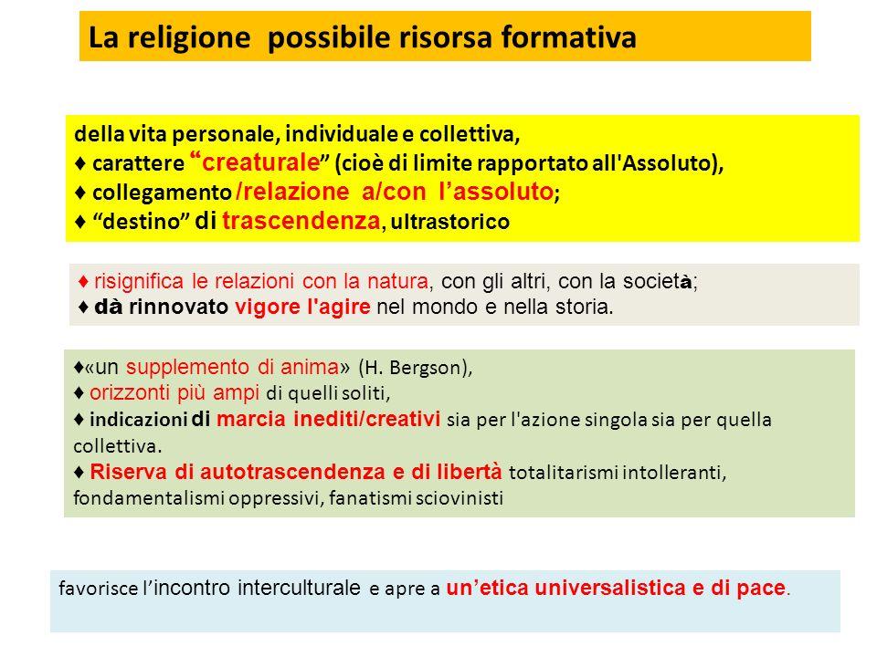 La religione possibile risorsa formativa
