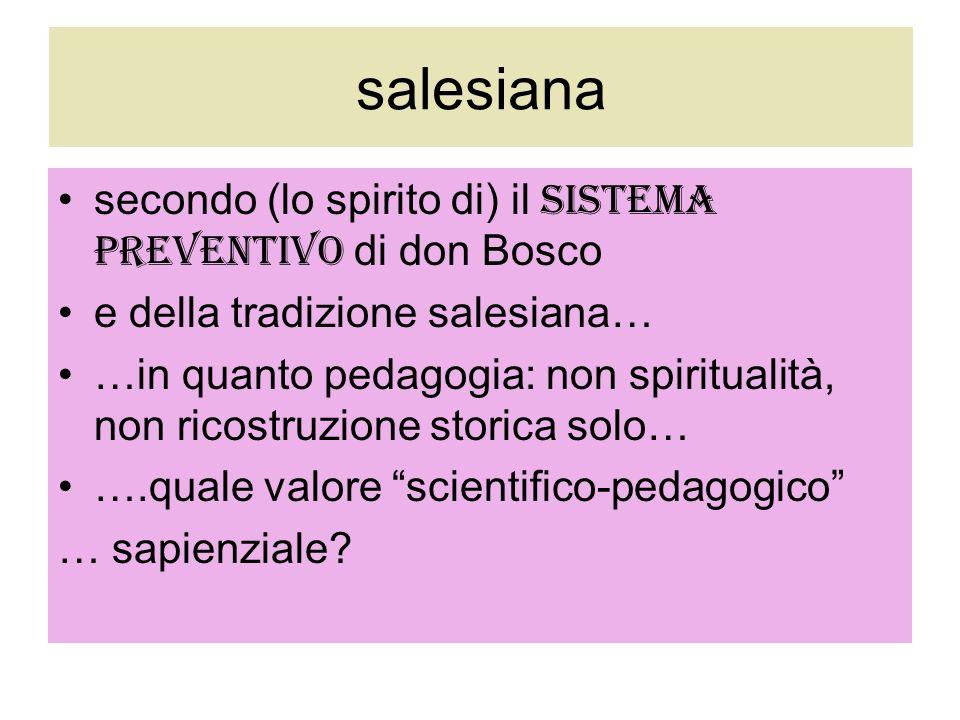 salesiana secondo (lo spirito di) il sistema preventivo di don Bosco
