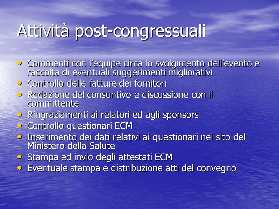 Attività post-congressuali