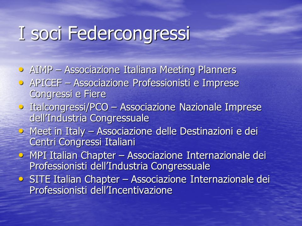 I soci Federcongressi AIMP – Associazione Italiana Meeting Planners